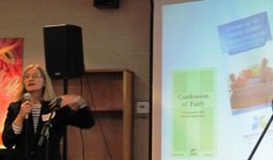 Continuing education coordinator Danielle Lajeunesse presents BFL brochures in French.