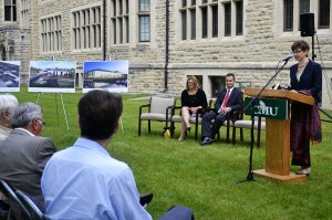 """The library and learning commons will be """"the hub of the campus,""""says CMU president Cheryl Pauls."""
