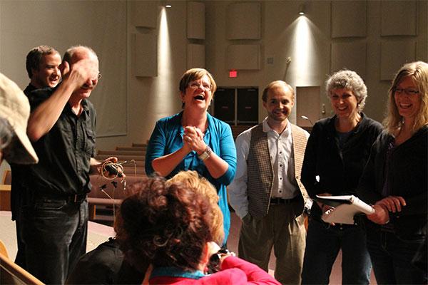Dinah Elias (left) debriefs cast of The Letters. Photo: Steven Sukkau