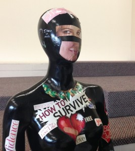 Images and words on this mannequin convey realities for those caught in the sex trade.