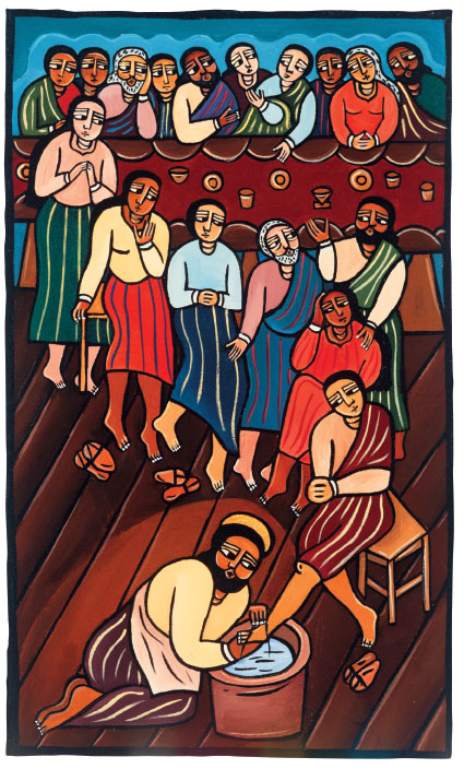 """Jesus washing the disciples' feet"" by Laura Lames (laurajamesart.com)"