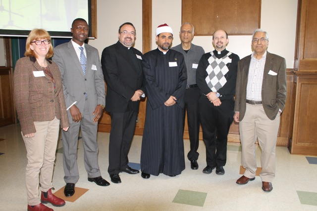 A number of the main speakers at the Christian-Muslim dialogue, Sept. 13, at the Edmonton Islamic Academy. (l-r) Lendrum MB pastor Carol Penner, Holyrood Mennonite board member Thomas Bumbeh, Father Stefano Penna, Imam Sherif Ayoup, poet Shama Nanji, Kevin Kraglund, Masood Peracha. (Missing: Imam Usama Al-Atar, Miriam Gross, Angela Veters, and Valerie Bazira.)