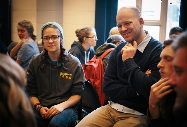 Academic dean Gil Dueck listens to students at Bethany College's 2013 Discipleship & Context conference.