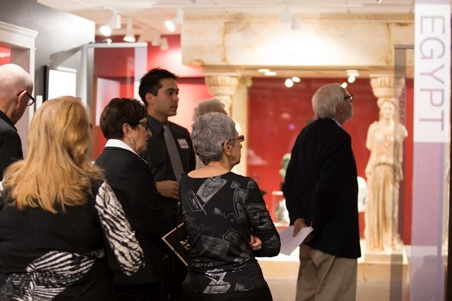 CBC student Jason Thomassen provides a guided tour of the Egypt & Israel sections of the Collection to dignitaries at a private preview event Feb, 13, 2015. PHOTO: Stephanie Jantzen