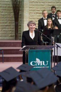 Commencement speaker Sister Lesley Sacoumen. PHOTO courtesy of CMU.