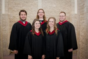 Back row, l-r: Joel Reimer (Steinbach MB Church), Spencer Groenenboom (Evangelical Free Church of Lethbridge -- Bethany College student), Shane Dyck (Fourth Avenue Bible Church) Front row, l-r: Jaclyn Mahara (Elm Creek MB Church), Karlene Giesbrecht (Winkler MB Church)